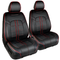 Season Guard 3D Semi-Custom Luxury Faux Leather Seat Cover, Black/Red Accent, Includes Driver and Passenger Covers, Universal fit - LeadPro Inc