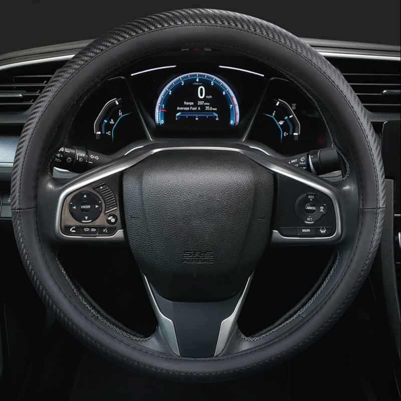 "Season Guard Antimicrobial Striker Faux Leather Steering Wheel Cover, Fits Std. Size Steering Wheels 14.5"" - 15.5"" Dia."