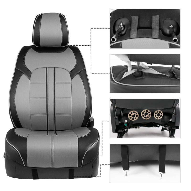 Season Guard 3D Semi-Custom Luxury Faux Leather Seat Cover, Black/Grey, Includes Driver and Passenger Covers, Universal fit - LeadPro Inc