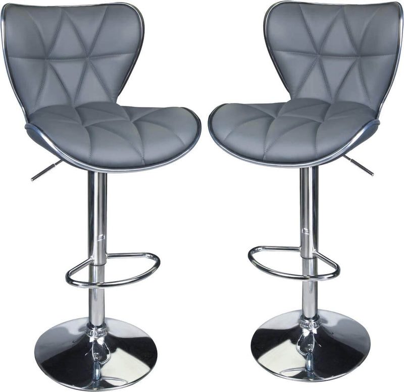 Grey Shell Back Adjustable Bar Stools - LeadPro Inc
