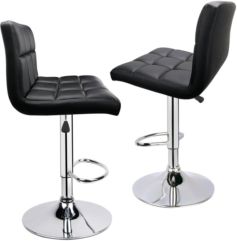 Bar Stools, Modern PU Leather Adjustable Swivel Bar Stools with Back, Set of 2, Black