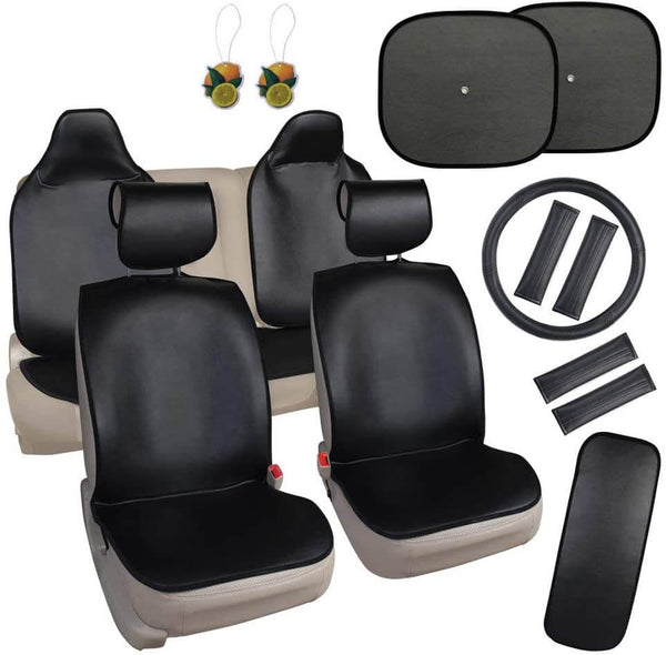 Quick Cloth Seat Cover Set, Includes Front and Rear Covers, Steering Wheel Cover and Shoulder Belt Pads, Universal fit, Black - LeadPro Inc