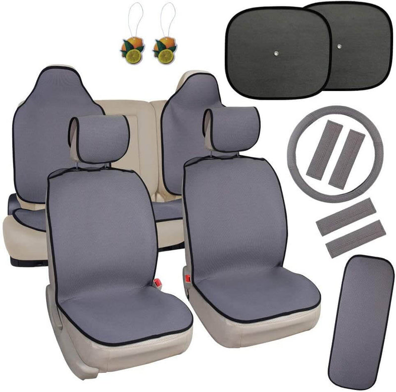 Quick Cloth Seat Cover Set, Includes Front and Rear Covers, Steering Wheel Cover and Shoulder Belt Pads, Universal fit, Grey - LeadPro Inc
