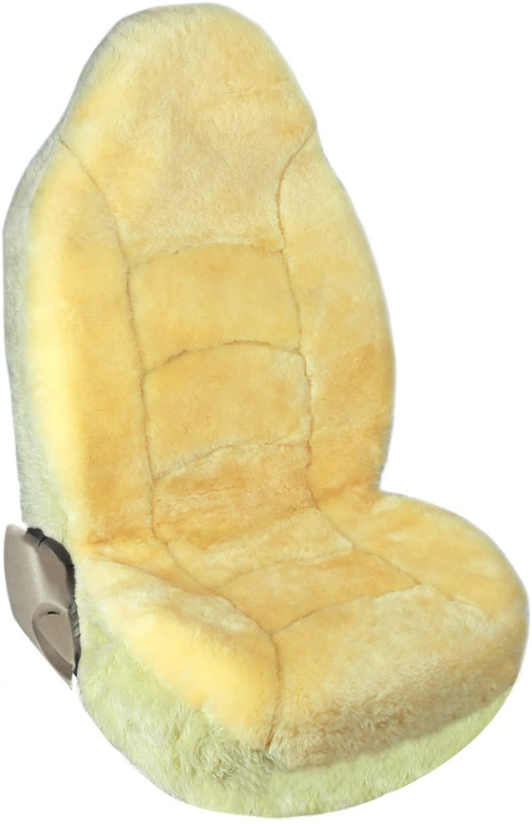 Genuine Australian Sheepskin High & Low Back Seat Cover, Universal fit, 1 Seat Cover, Champagne - LeadPro Inc