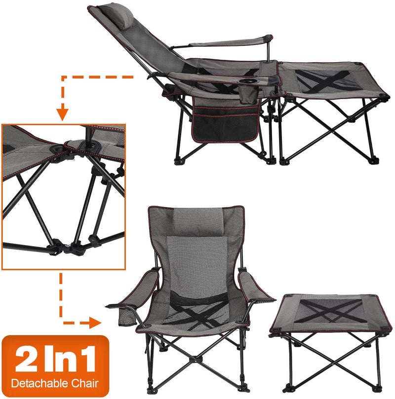 Upgraded 2 in 1 Camping Chair with Footrest Recliner Folding Chaise Lounge Chair
