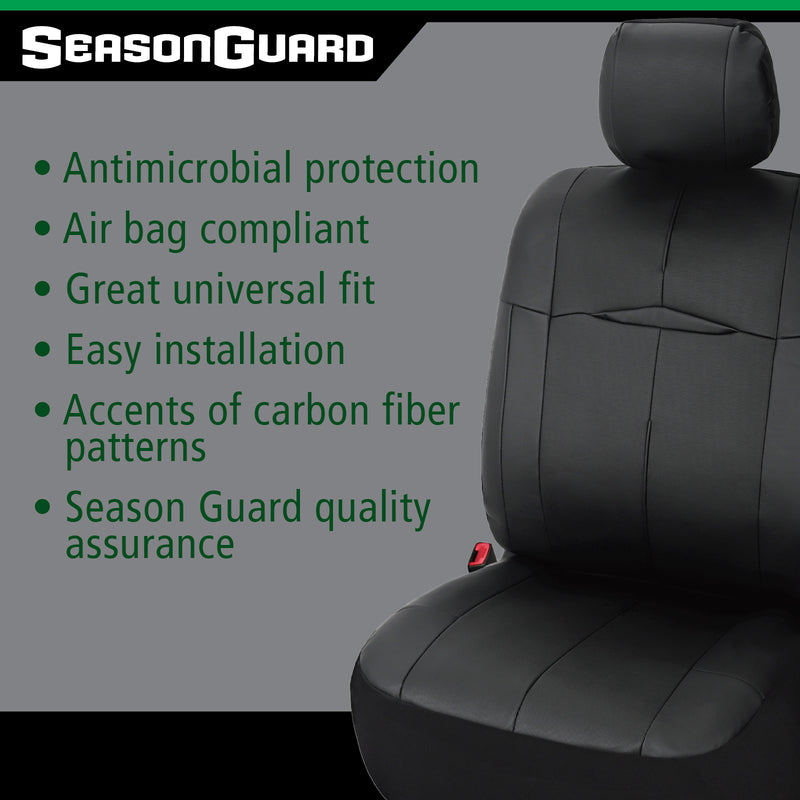 Season Guard Coronado Seat Cover with Built-in Antimicrobial Protection, Universal Fit for Cars Truck Van SUV, Faux Leather, 2pc kit