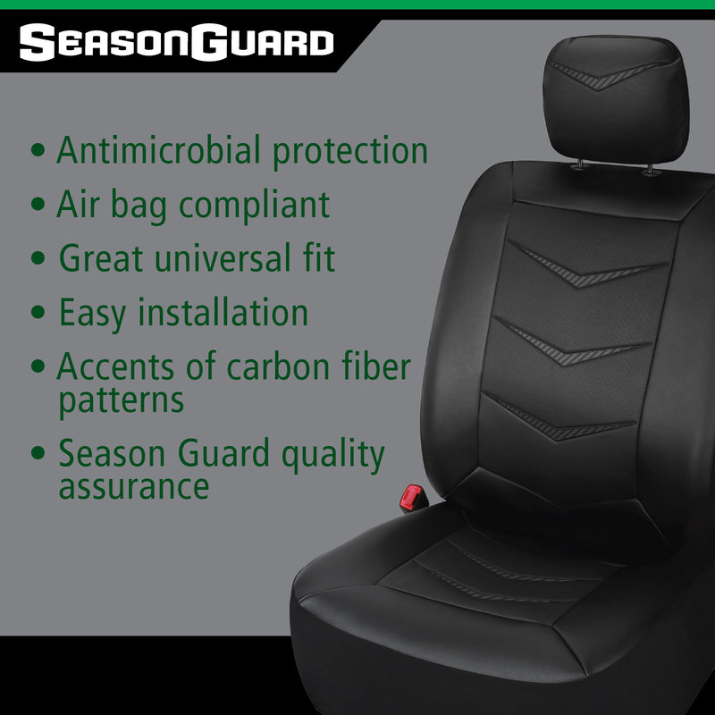 Season Guard Bel-Air Seat Cover with Built-in Antimicrobial Protection, Universal fit, Black Faux Leather w/Carbon Fiber Pattern, 2pc kit