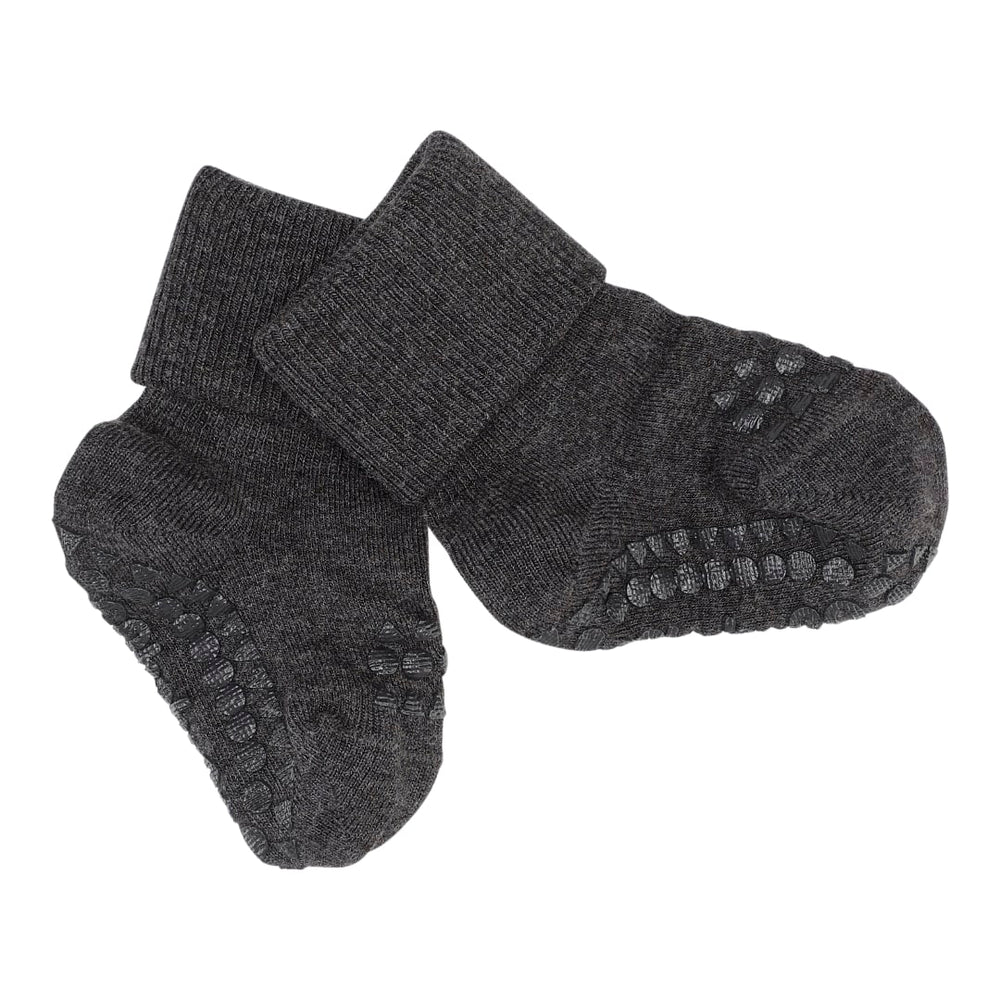 Load image into Gallery viewer, GoBabyGo bamboo non-slip sokker 1-2y Dark grey melange