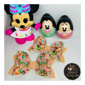 Minnie & Daisy Easter - Pigtail Set