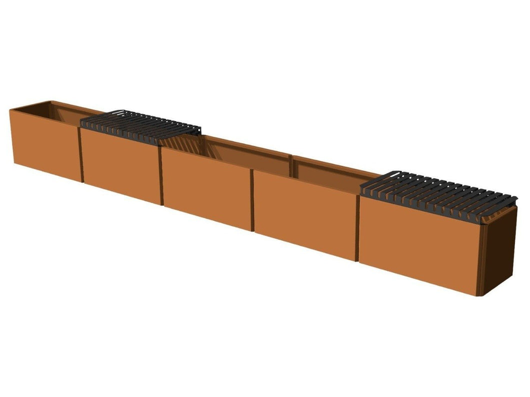Plant box EDGY Corten with 2 x top 388 x 40 x 40 cm.