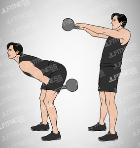 Kettlebell 2-Handed Swings Fitness Illustration- (Male) Version 1