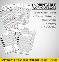 Load image into Gallery viewer, Printable Workout Logs- 15 Sheets