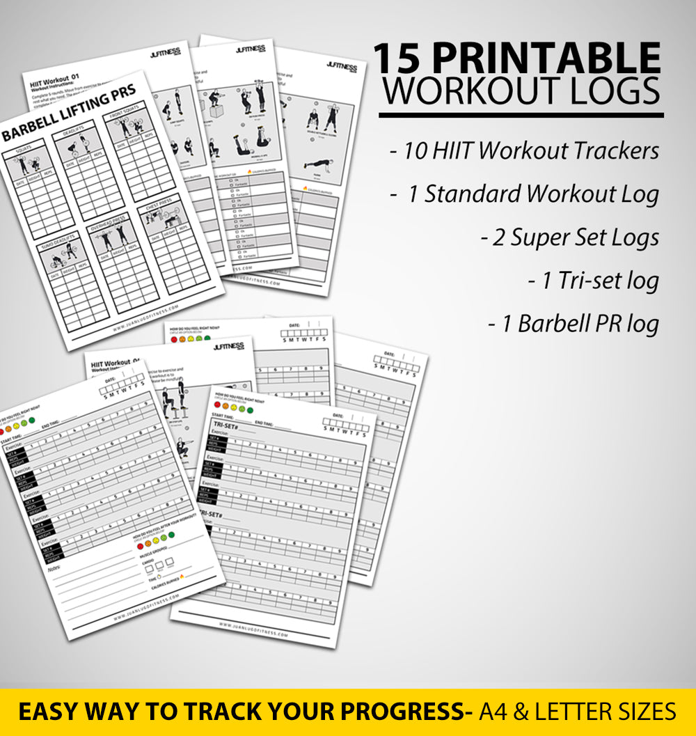 Printable Workout Logs- 15 Sheets