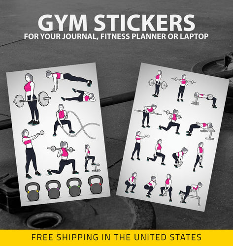 gym and fitness stickers for your journal, planner or laptop