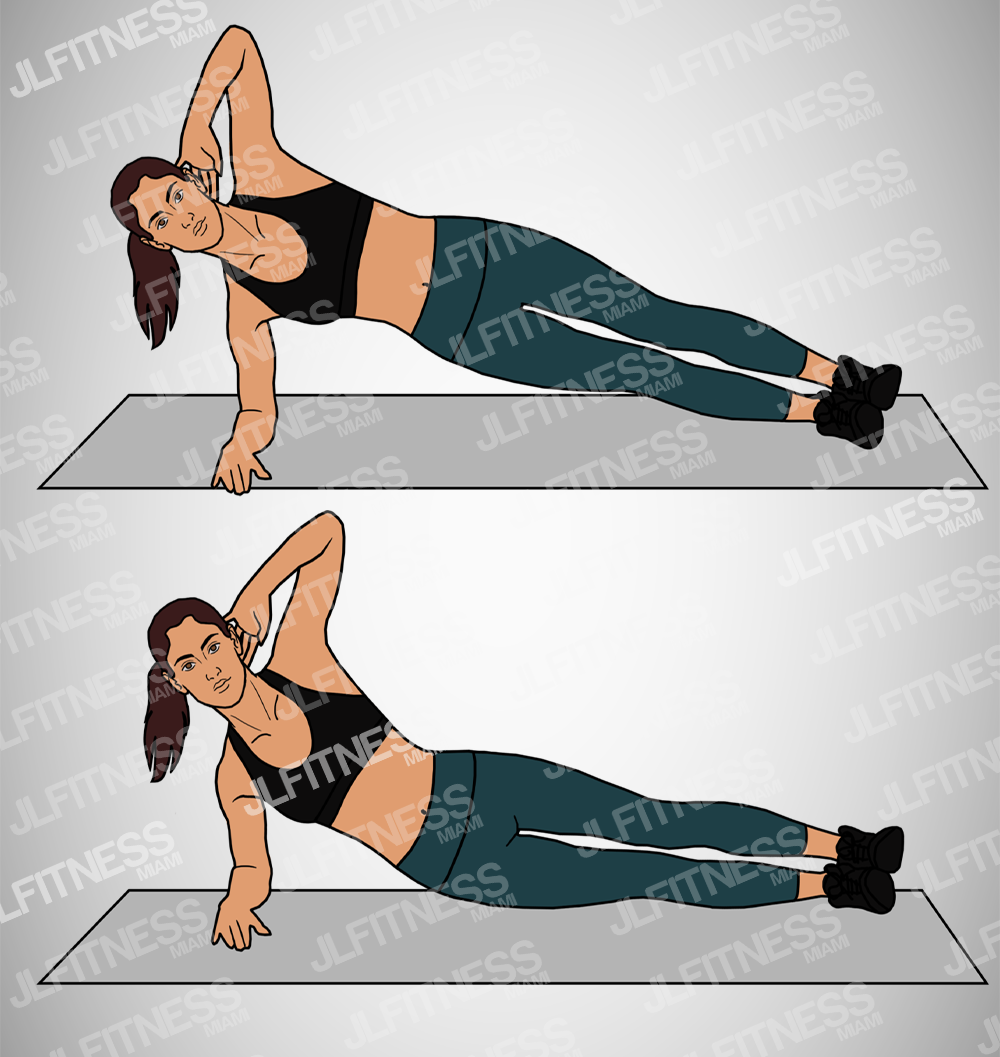 Side Plank Dips - Core Fitness Illustration- (Female) Version 1