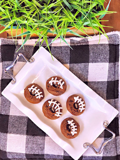 Chocolate Chip Football Donuts with Cream Cheese Icing