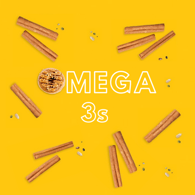 """Omega 3s""- Yellow background with cinnamon sticks and seeds"