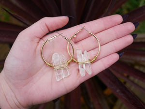 Clear Quartz Gold Hoops - Wandering Soul Jewellery
