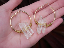 Load image into Gallery viewer, Clear Quartz Gold Hoops - Wandering Soul Jewellery