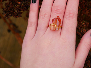 Orange Lemurian Seed Ring - Wandering Soul Jewellery
