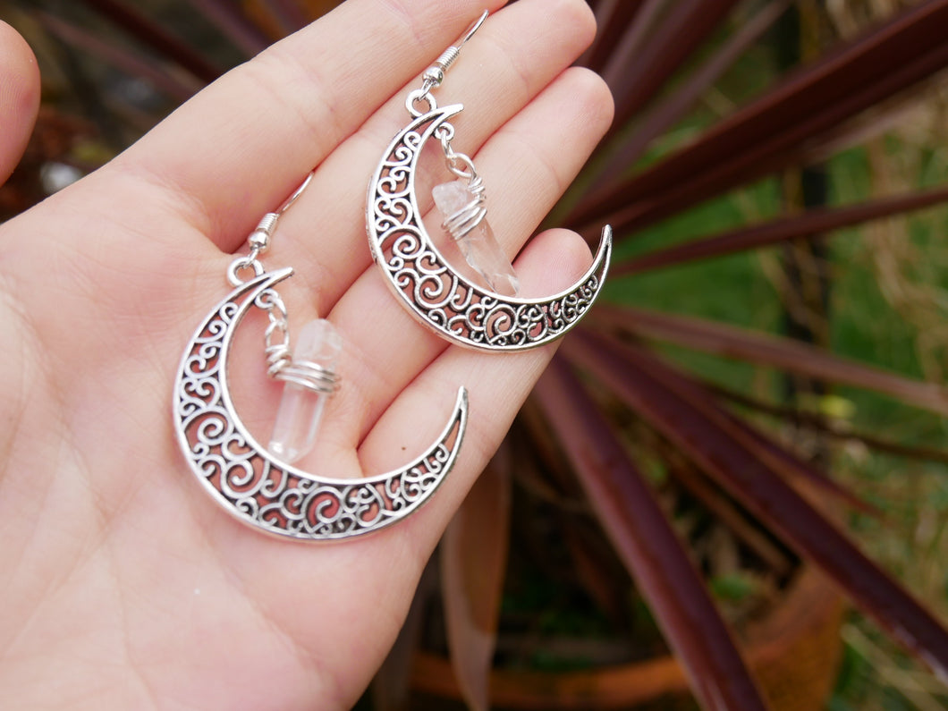 Crystal Moon Earrings | Clear Quartz - Wandering Soul Jewellery