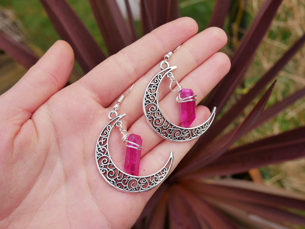 Crystal Moon Earrings | Pink Lemurian Seed - Wandering Soul Jewellery