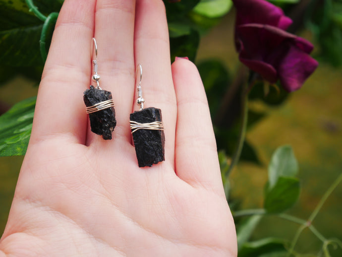 Black Tourmaline Earrings - Wandering Soul Jewellery