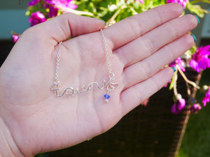 Taurus Necklace with Sapphire Swarovski Crystal - Wandering Soul Jewellery