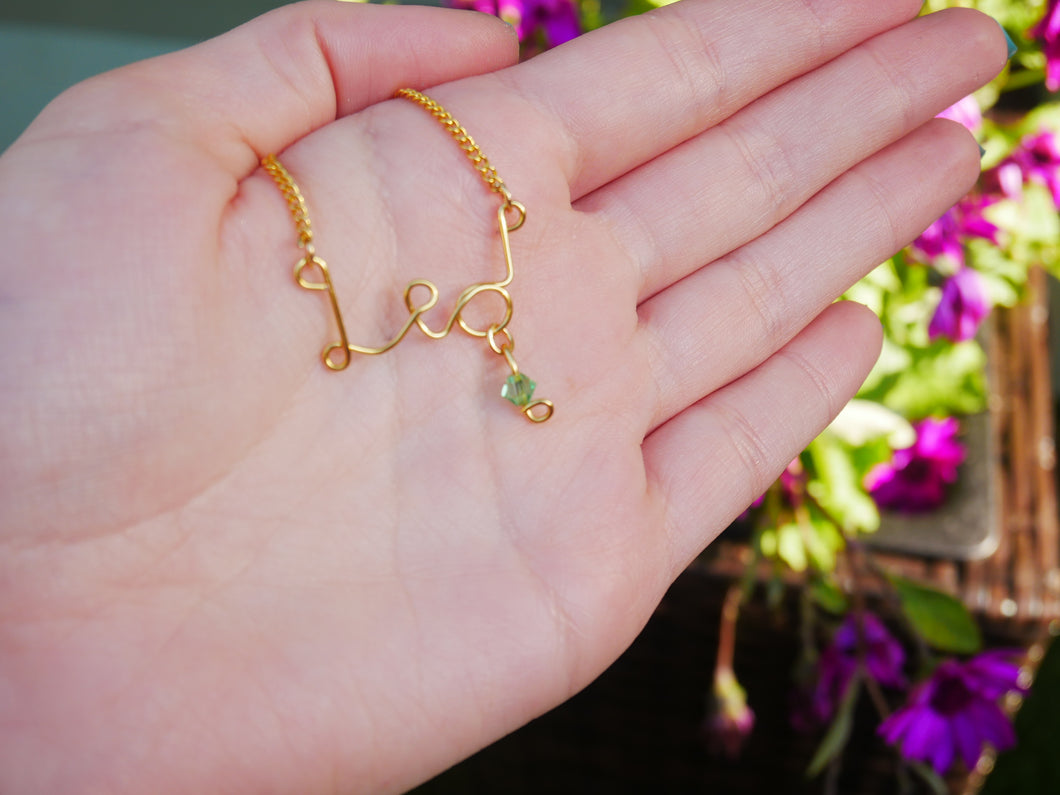 Leo Necklace with Peridot Swarovski Crystal - Wandering Soul Jewellery