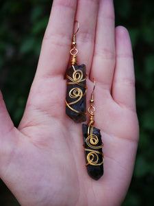 Smoky Quartz Twisty Earrings - Wandering Soul Jewellery