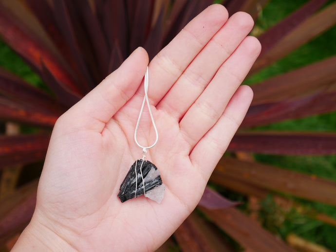 Clear Quartz & Black Tourmaline Necklace - Wandering Soul Jewellery