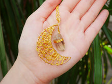 Load image into Gallery viewer, Smoky Quartz Twisty Moon Necklace - Wandering Soul Jewellery