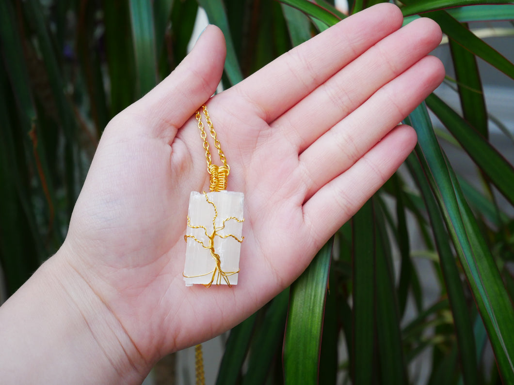 Selenite Tree Of Life Necklace - Wandering Soul Jewellery