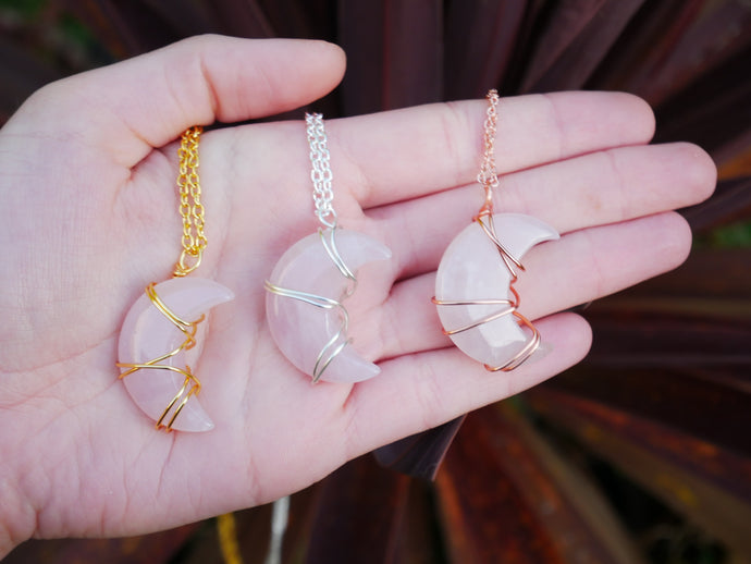 Rose Quartz Luna Necklace - Wandering Soul Jewellery