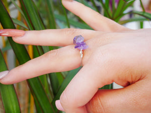Amethyst Chip Ring - Wandering Soul Jewellery