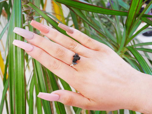 Black Onyx Chip Ring - Wandering Soul Jewellery