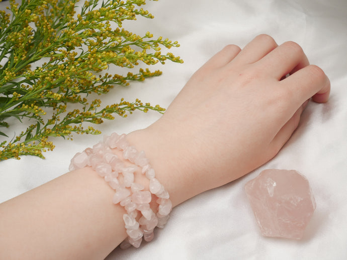 Rose Quartz Chip Bracelet - Wandering Soul Jewellery