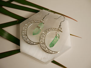 Crystal Moon Earrings | Green Lumerian Seed - Wandering Soul Jewellery