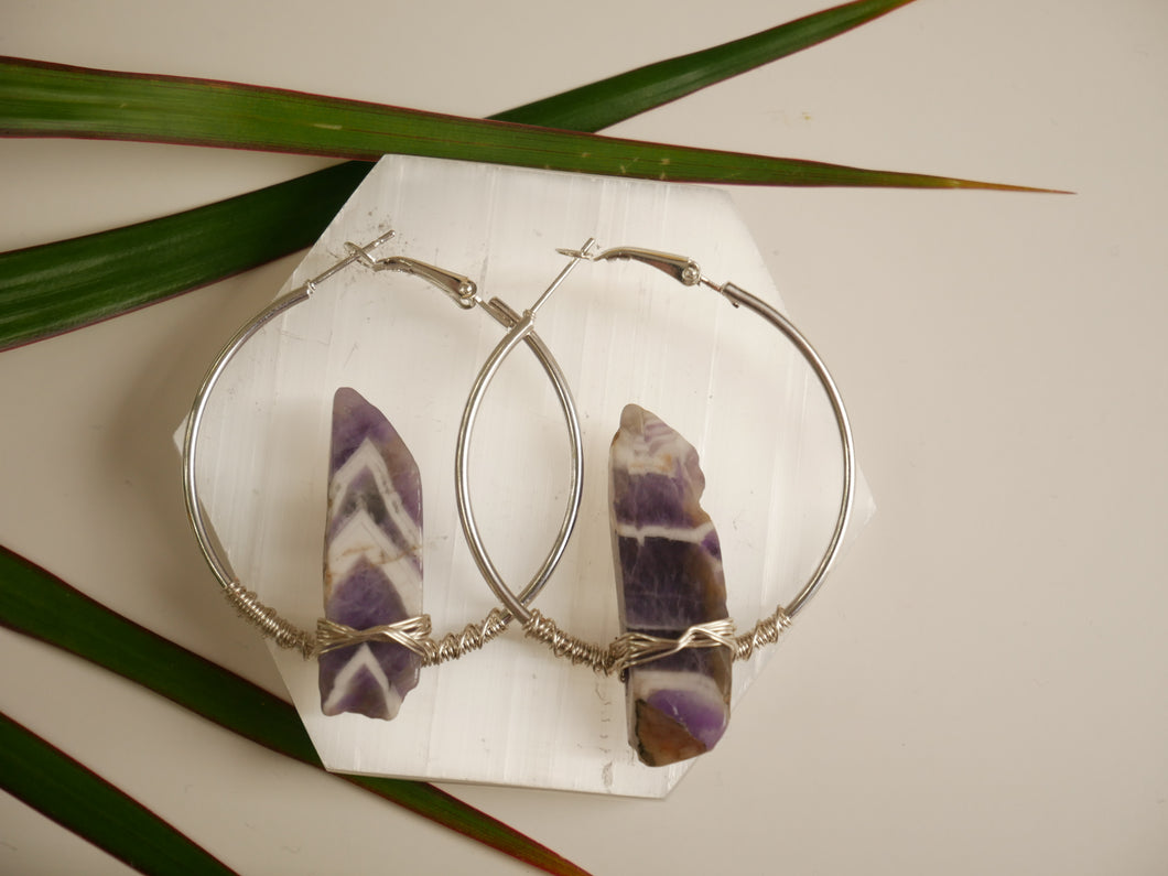 Purple Amethyst Hoop Earrings - Wandering Soul Jewellery