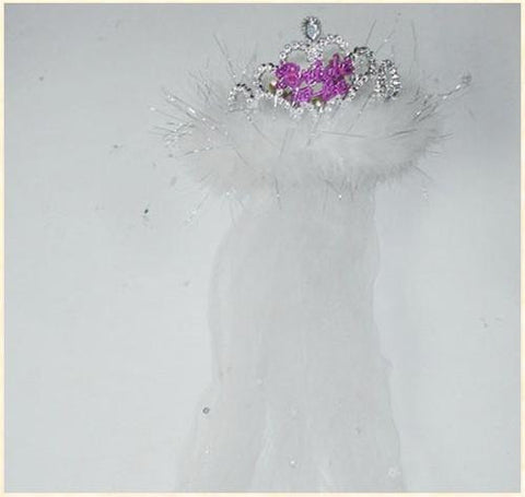 Flashing Bride to Be Tiara with White fur & Veil - Condom-USA