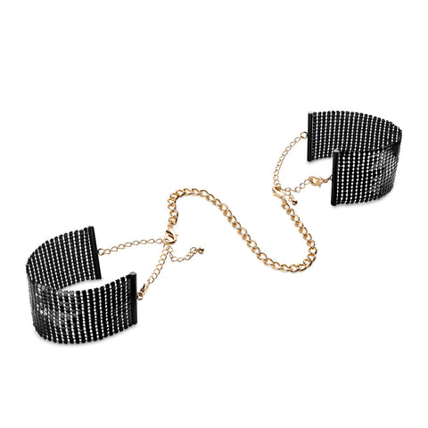 Desir Metallique Mesh Handcuffs : Black - Condom-USA