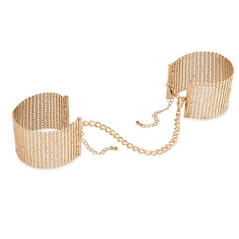 Desir Metallique Mesh Handcuffs :Gold - Condom-USA