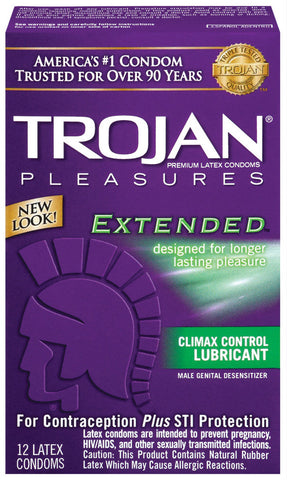 TROJAN PLEASURES EXTENDED CONDOMS  12PK