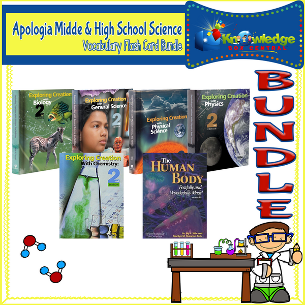 Apologia Midde & High School Science Vocabulary Flashcard BUNDLE