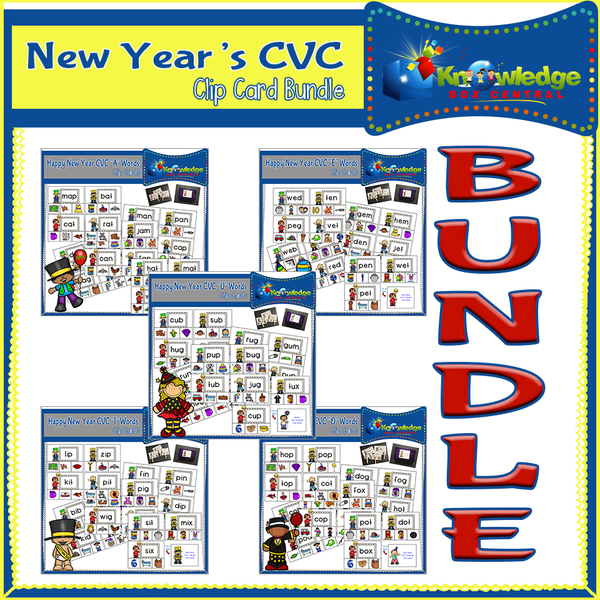 New Year's CVC Words Clip Cards BUNDLE