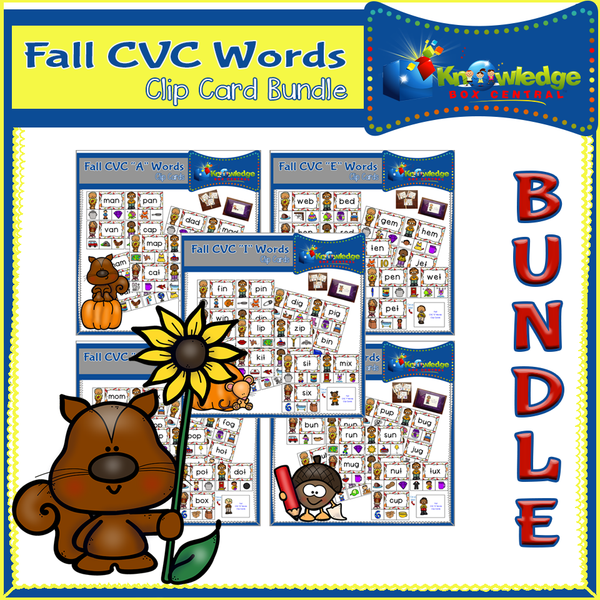 Fall CVC Words Clip Card BUNDLE