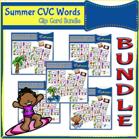 Summer CVC Words Clip Cards BUNDLE