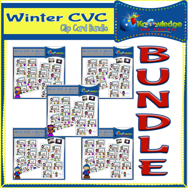 Winter CVC Words Clip Cards BUNDLE