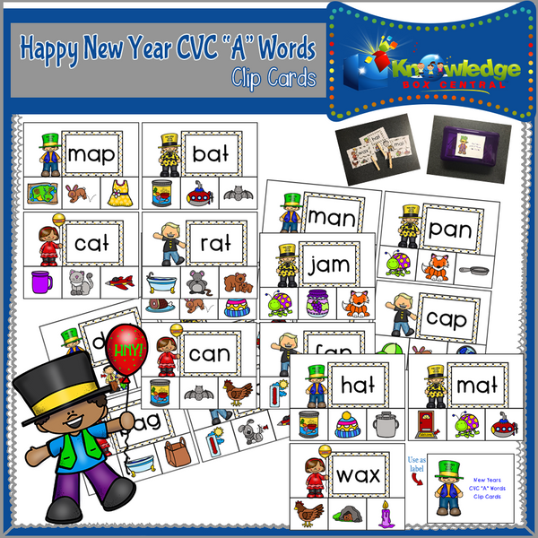 New Year's  CVC Words Clip Cards