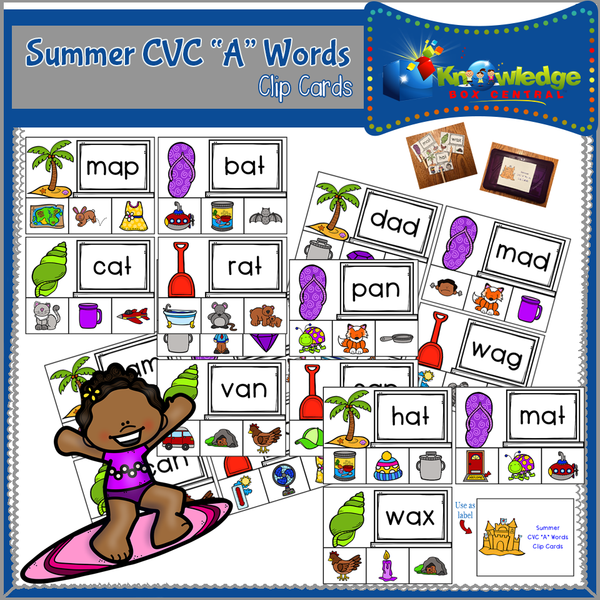 Summer  CVC Words Clip Cards